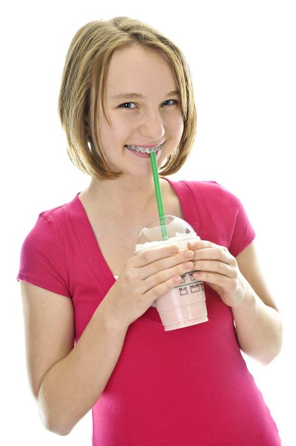 Teenage Girl With Milkshake Royalty Free Stock Images