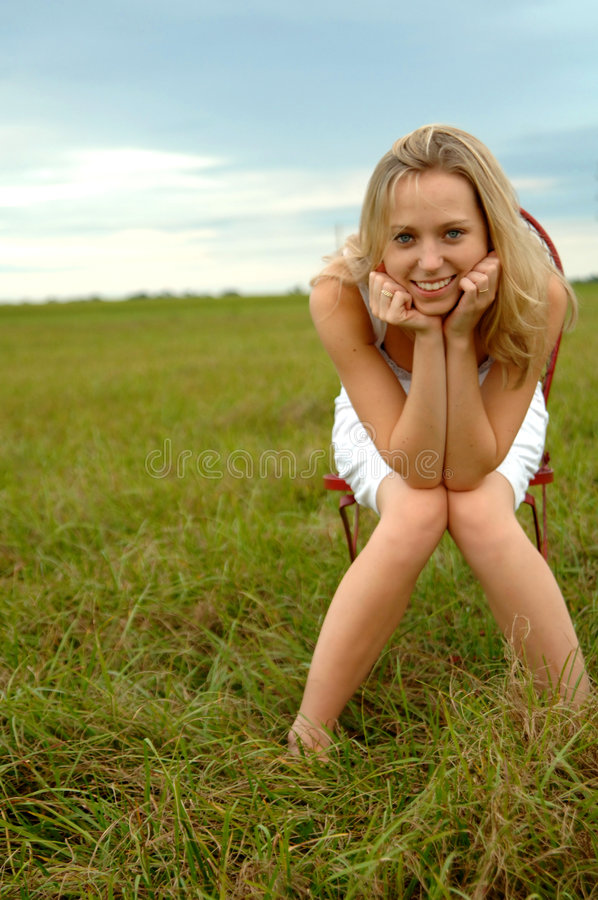 Download Teenage girl in nature stock photo. Image of field, attractive - 6871744