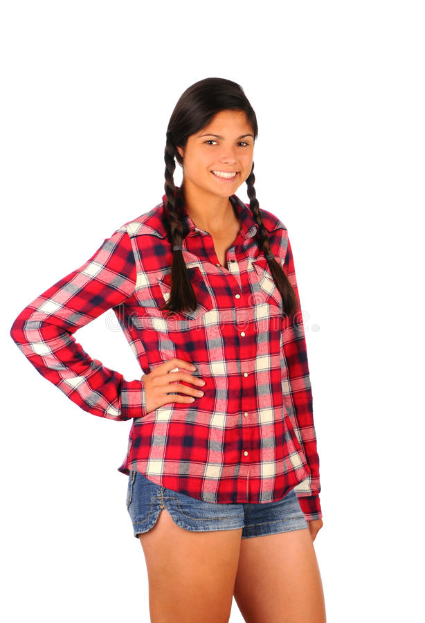 Download Teenage Girl In Plaid Shirt And Jean Shorts Royalty Free Stock Images - Image: 21155359