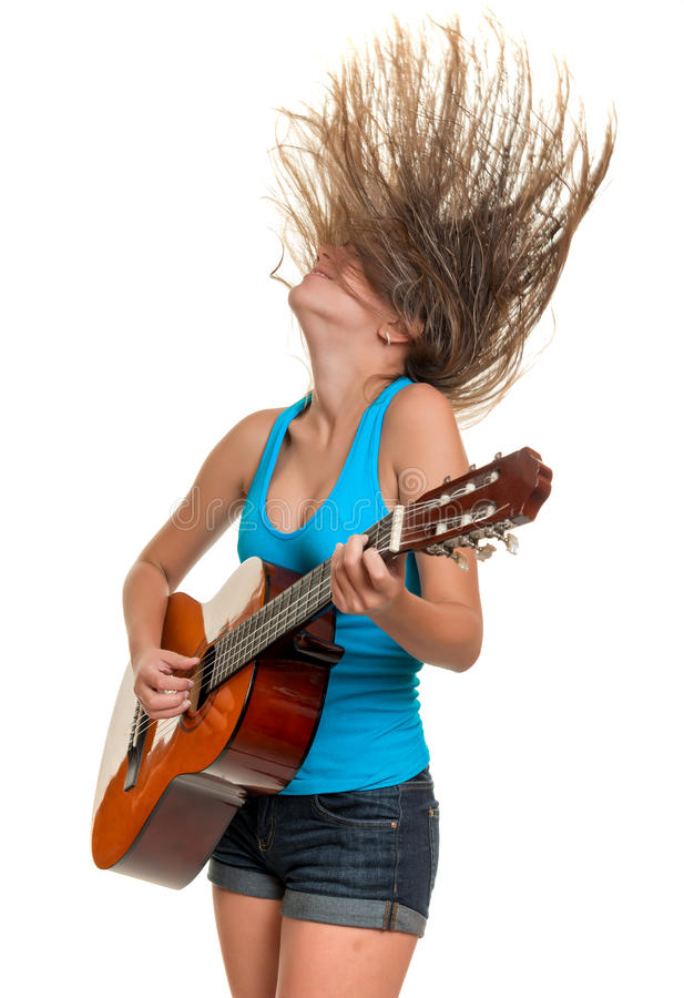 Free Teenage Girl Playing An Acoustic Guitar Royalty Free Stock Photos - 72716458