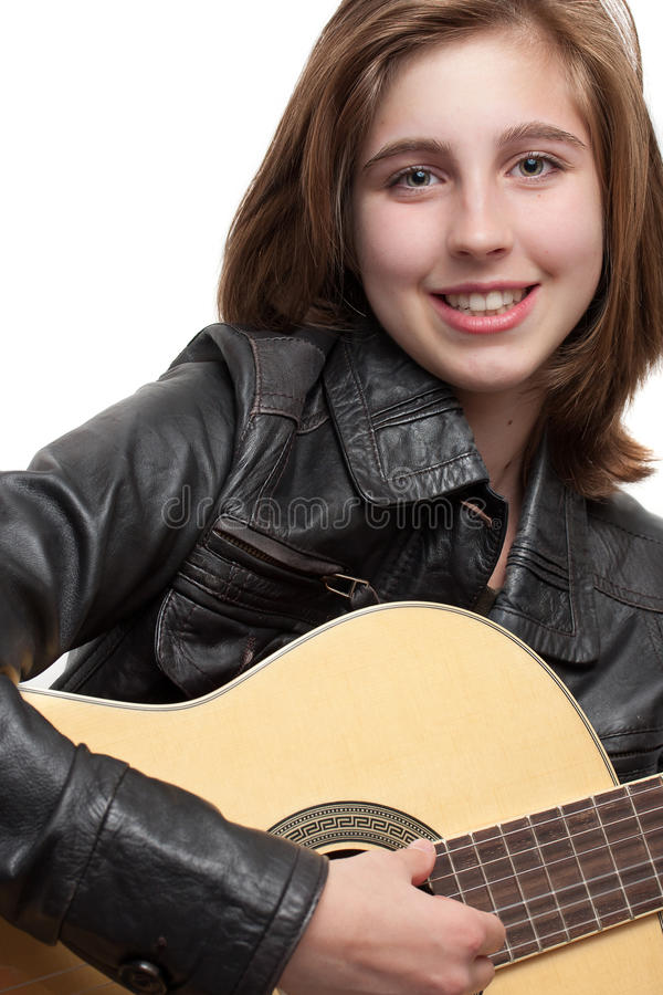 Download Teenage Girl Playing Guitar Stock Image - Image: 21502549