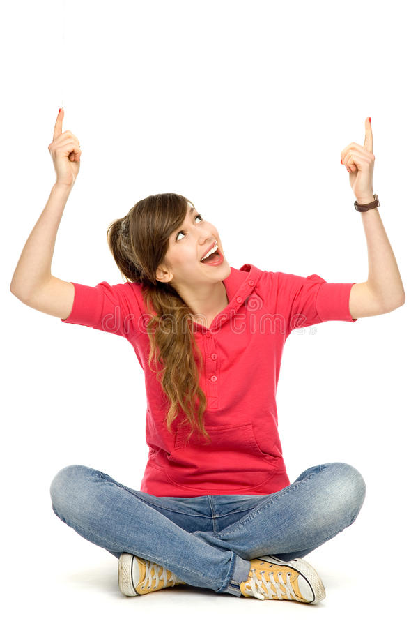 Download Teenage girl pointing up stock image. Image of cheering - 23006439