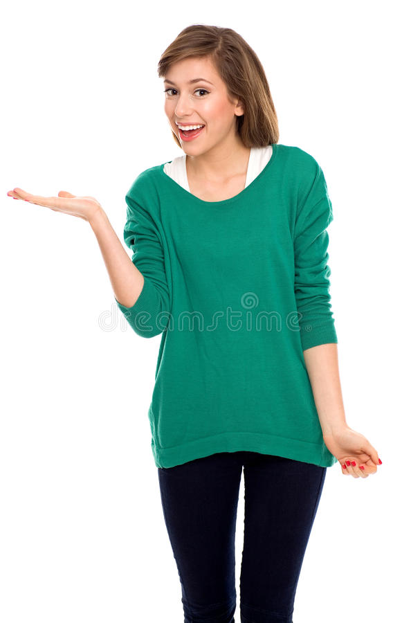 Teenage girl presenting something