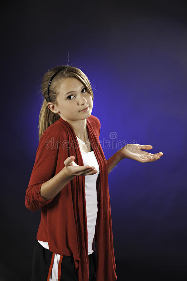 Teenage Girl With Questioning Hands Royalty Free Stock Image
