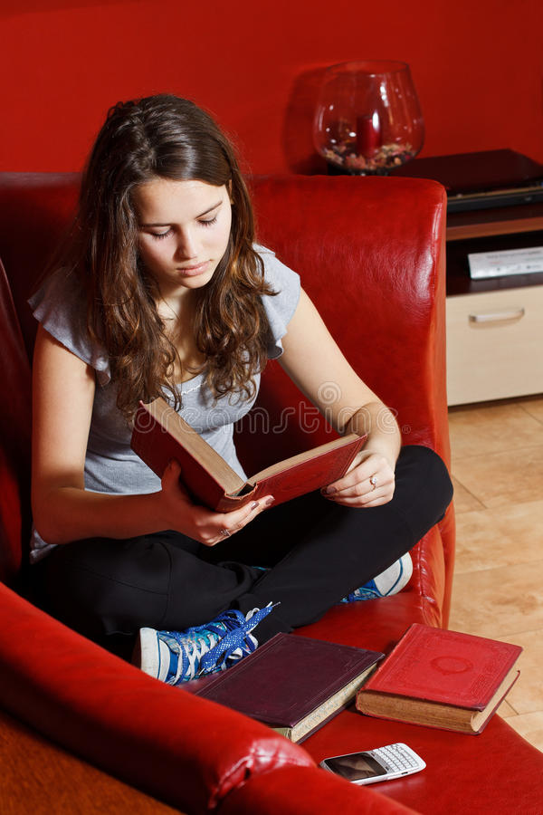Download Teenage Girl Reading At Home Stock Photo - Image: 23801298