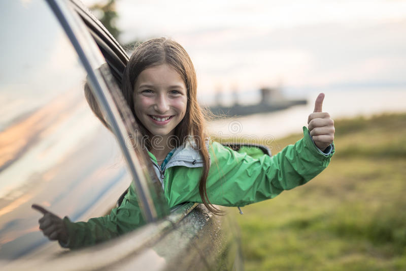 Teenage girl on a road trip summers day. A Teenage girl on a road trip on a summers day royalty free stock images