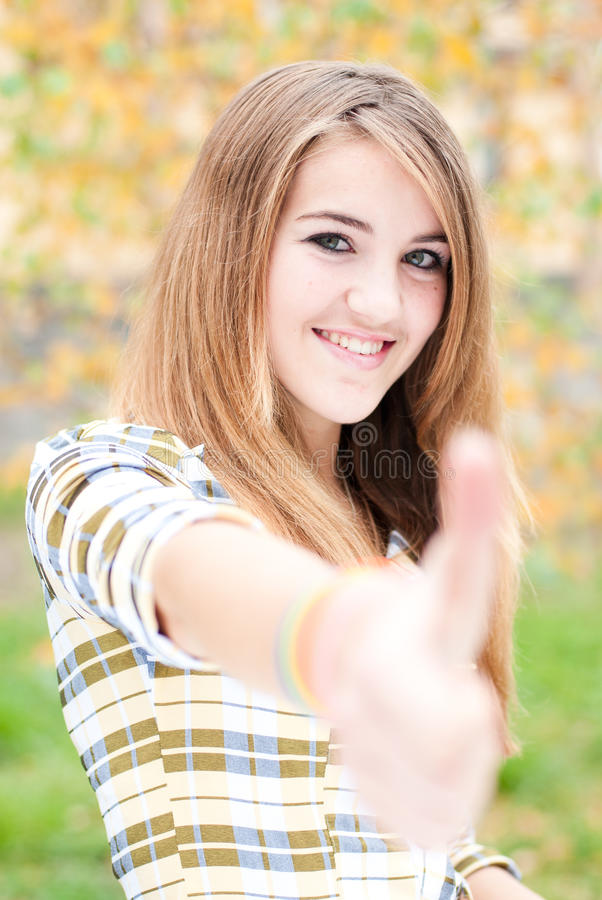 Download Teenage Girl Showing Thumb Up On Autumn Day Stock Image - Image: 28438835