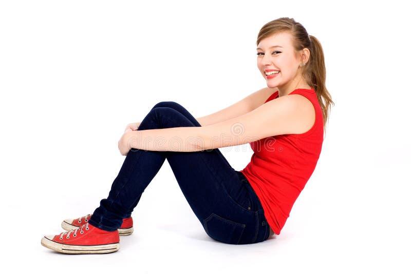 Download Teenage girl sitting stock photo. Image of teenage, female - 19212150