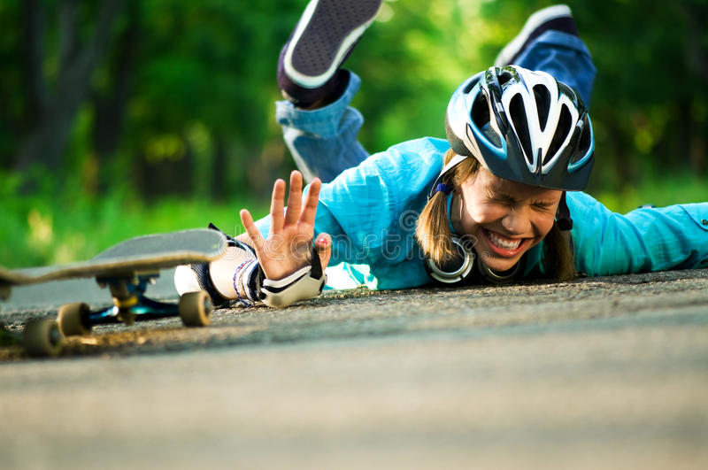 Teenage girl with skateboard. Beautiful teenage girl with skateboard in the green park stock photos