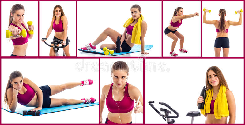 Teenage girl sport collage royalty free stock photography