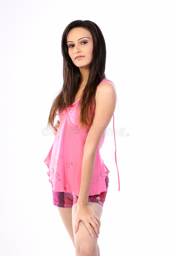 Download Teenage Girl Standing With Pink Dress Stock Image - Image: 14684183