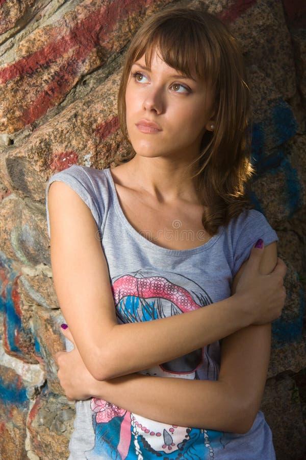 Teenage girl in summer park stock image