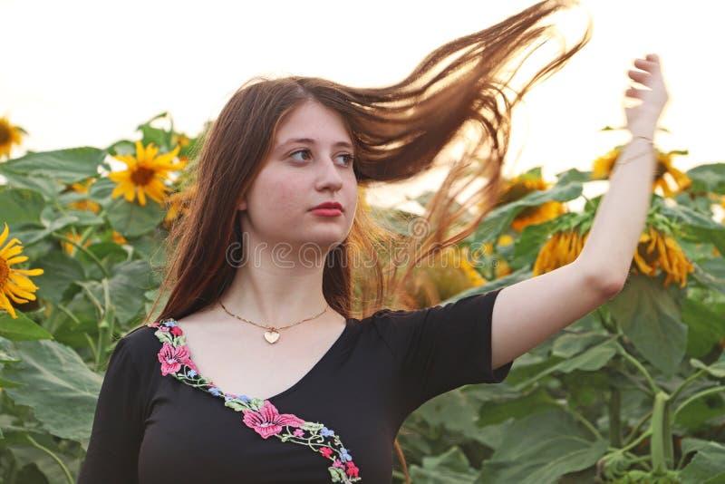 A teenage girl in sunflower fileld. A teenage girl having fun in sunflower field royalty free stock photo