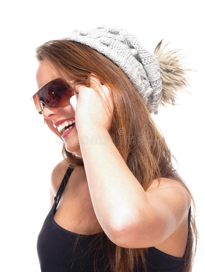 Download Teenage Girl With Sunglasses On Mobile Phone Stock Photo - Image of glasses, female: 34999874