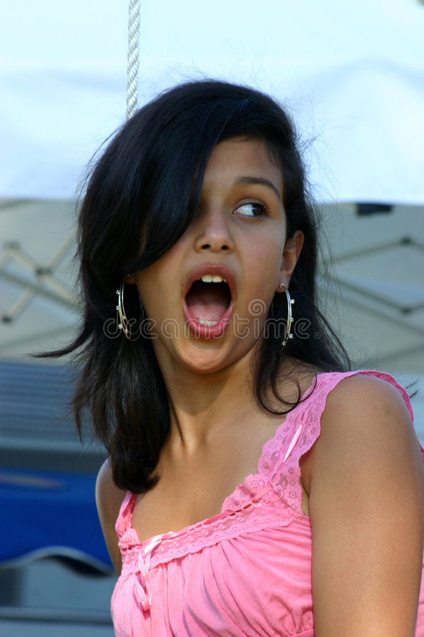 Teenage girl surprised stock images
