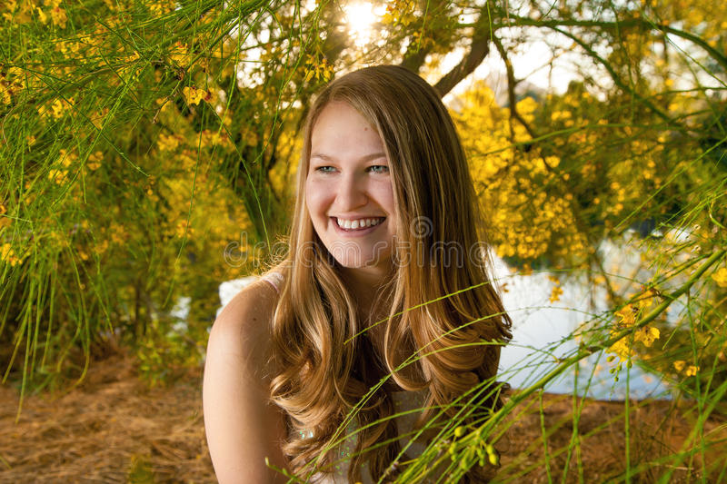 Teenage Girl Surrounded By Yellow Palo Verde Flowers. A teenage girl sits, looking off into the distance. She is surrounded by yellow palo verde flowers in late royalty free stock image