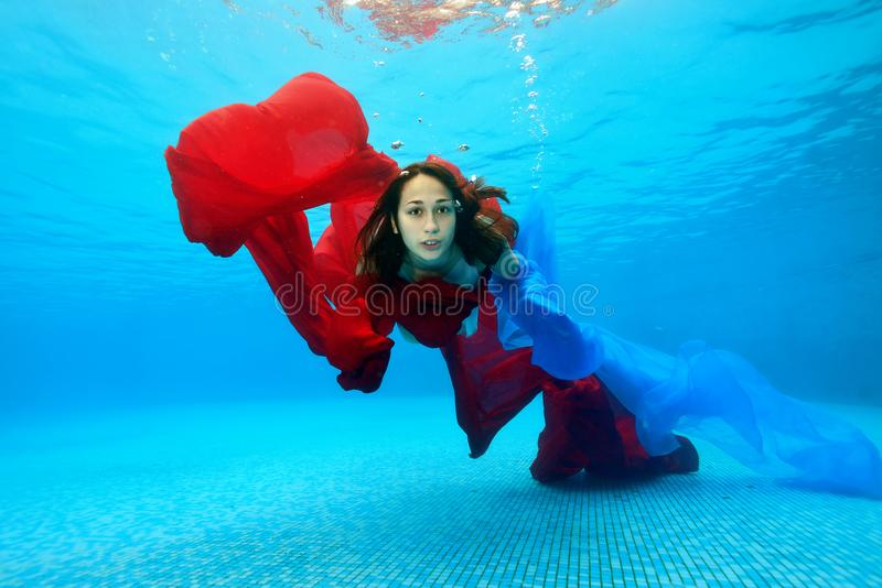 Teenage girl swims underwater in the pool on a blue background and looks at the camera. Portrait. Shooting under water stock image