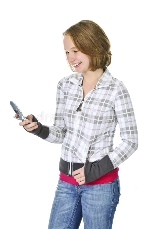 Download Teenage Girl Text Messaging On A Cell Phone Royalty Free Stock Images - Image: 7700949