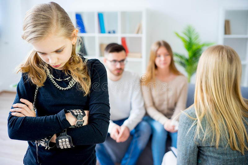 Teenage girl during therapy session stock images