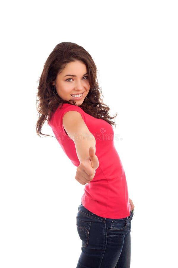 Teenage girl thumbs up