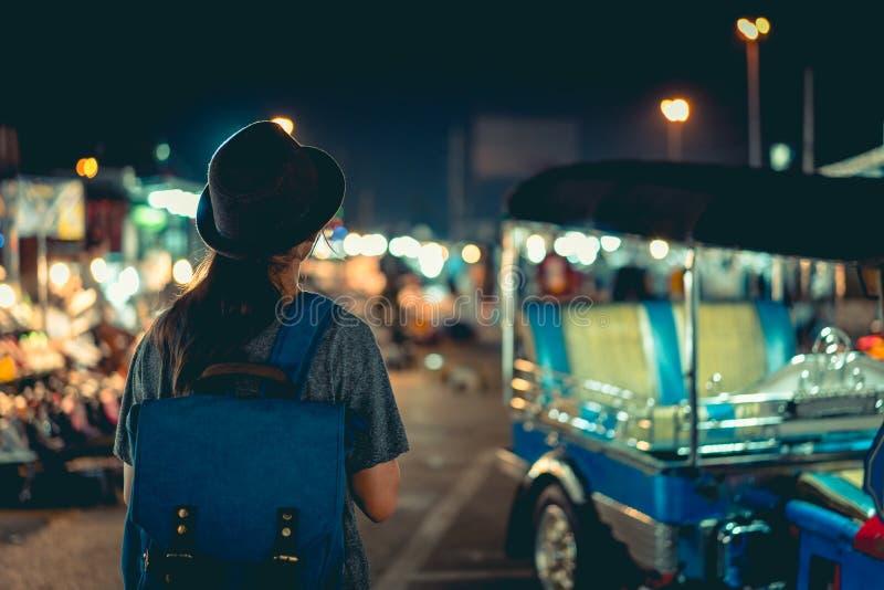 Night Market. Teenage girl tourist at night market, Bangkok Thailand royalty free stock image