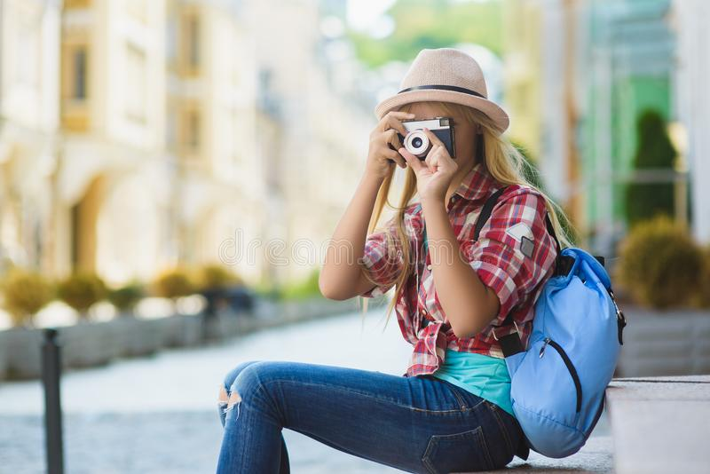 Teenage girl travel in Europe. Tourism and Vacation concept royalty free stock image