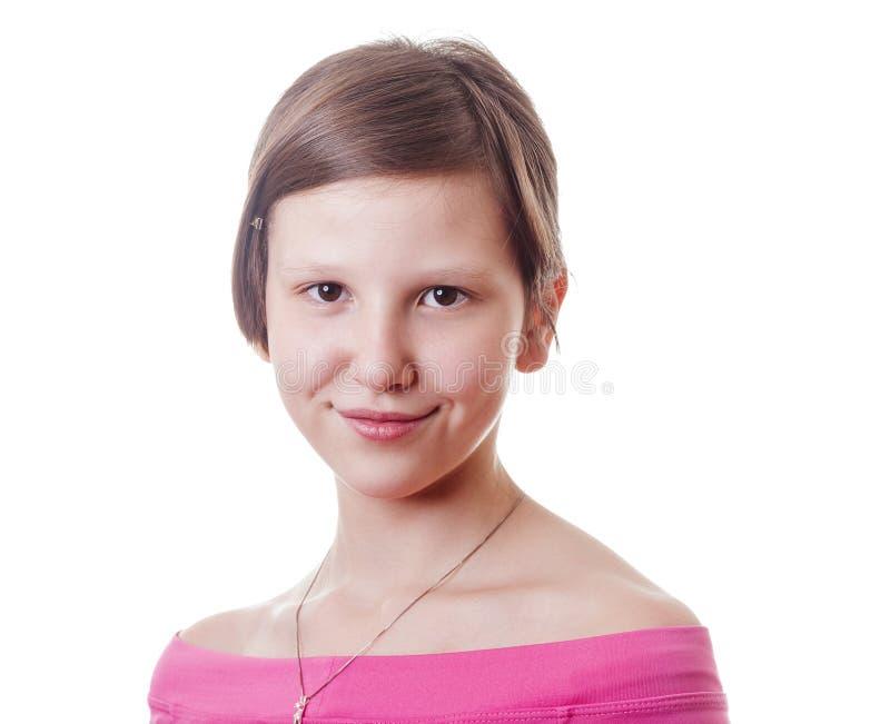Teenage girl short hair headshot royalty free stock photo