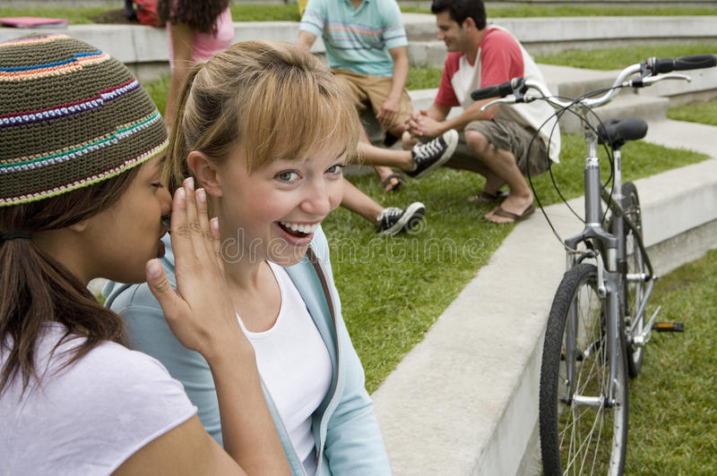 Teenage girl (17-19) whispering in friend's ear, friend smiling, group of teenagers in background royalty free stock photos