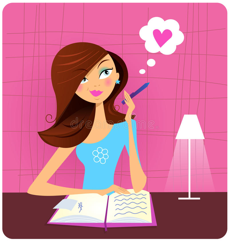 Teenage girl writing diary and dreaming about love royalty free illustration