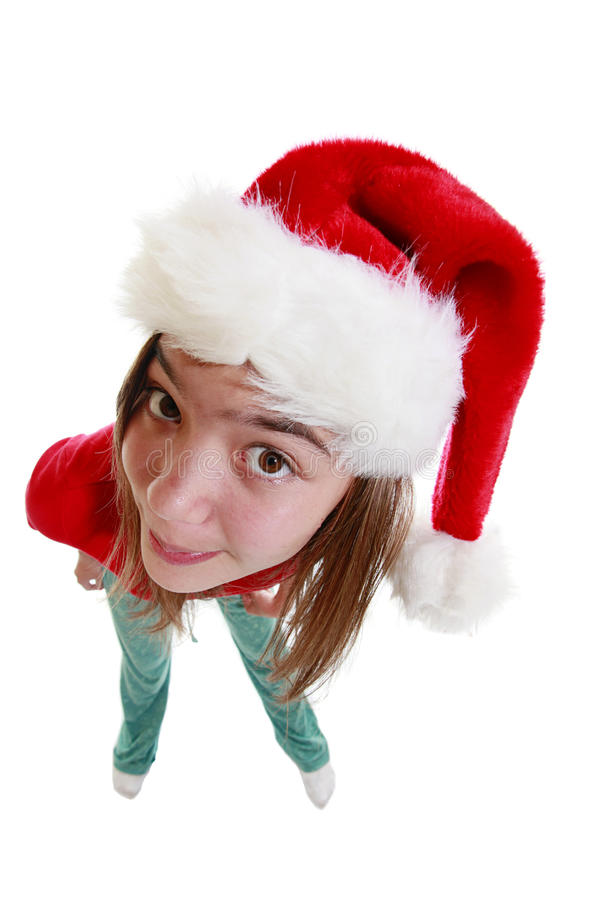 Download Teenage girl with Xmas Hat stock photo. Image of beauty - 11980322