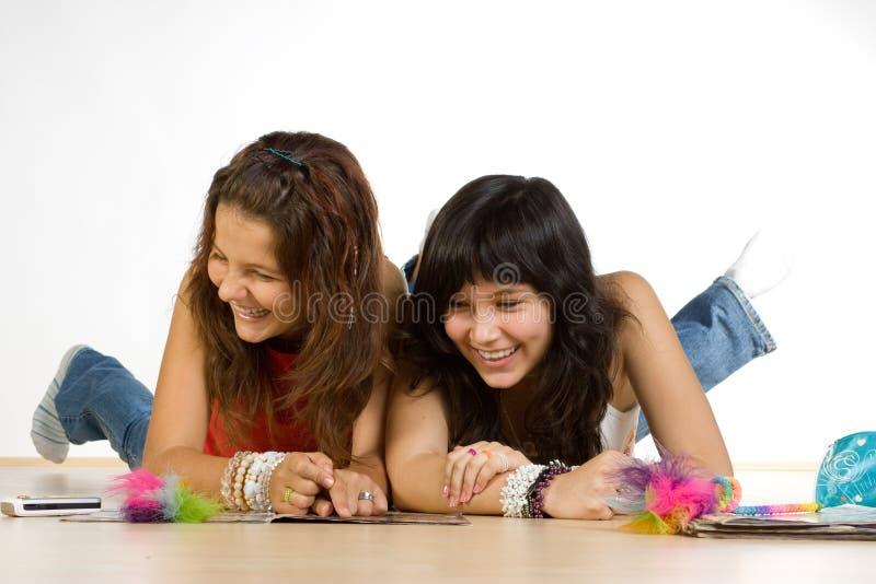 Teenage girlfriends stock photography