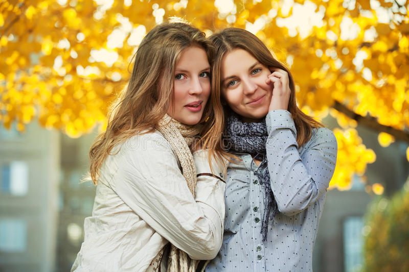 Download Teenage Girls In Autumn Park Stock Image - Image of female, long: 28544481