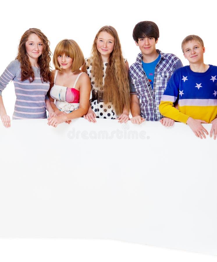 Teenage girls and boys royalty free stock photo
