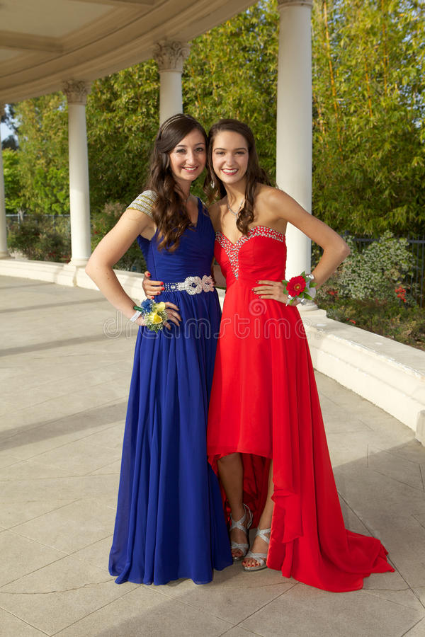 Teenage Girls Going to the Prom Posing Smiling stock image