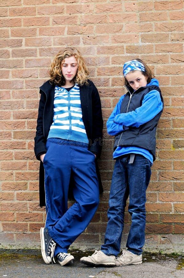 Teenage girls hanging around stock photo