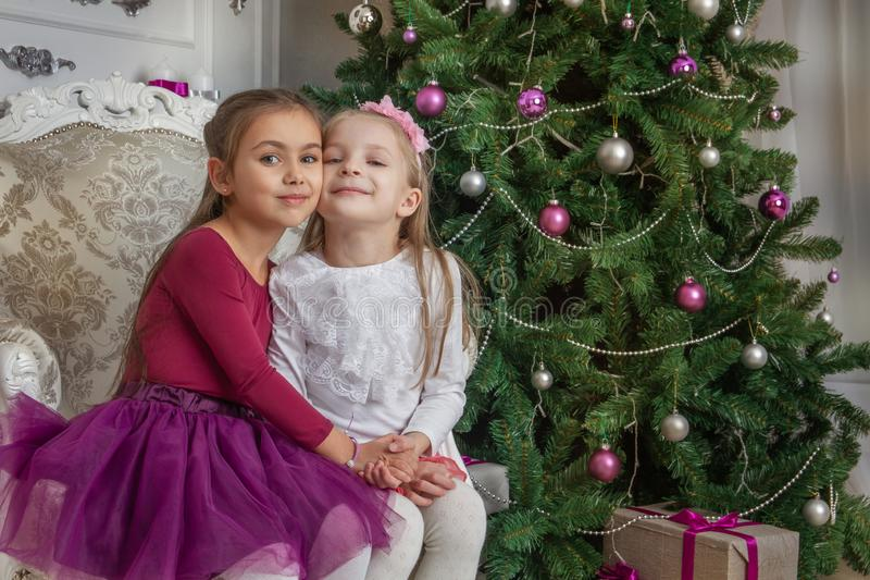 Teenage girls having fun under Christmas tree with gifts royalty free stock photography