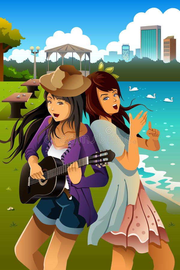 Teenage girls singing and playing guitar together vector illustration