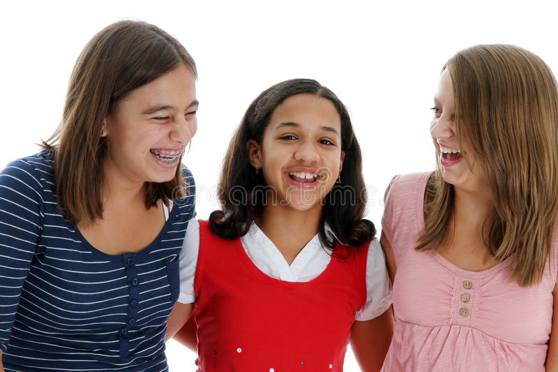 Teenage Girls On White Background Royalty Free Stock Photography