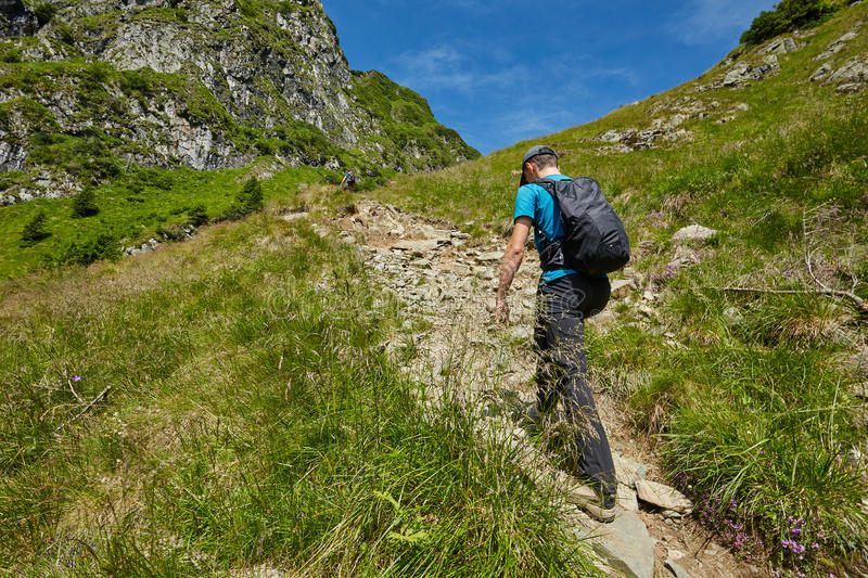 Teenage hiker on mountain trail royalty free stock images