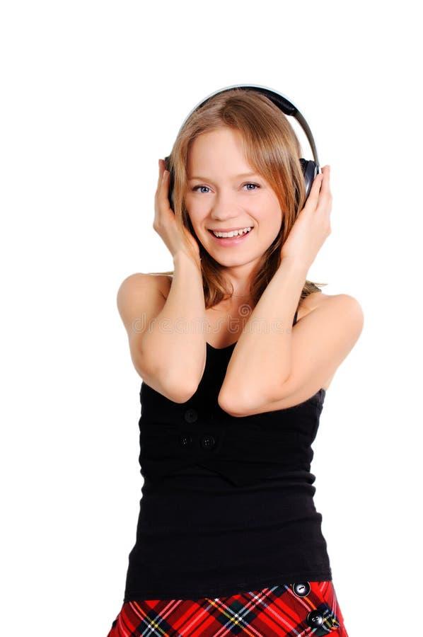 Teenage listening to music stock photo