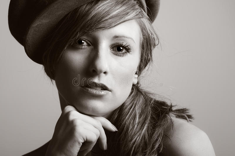 Teenage Model in Hat. Beautiful Shot of a Teenage Model in Hat stock photography