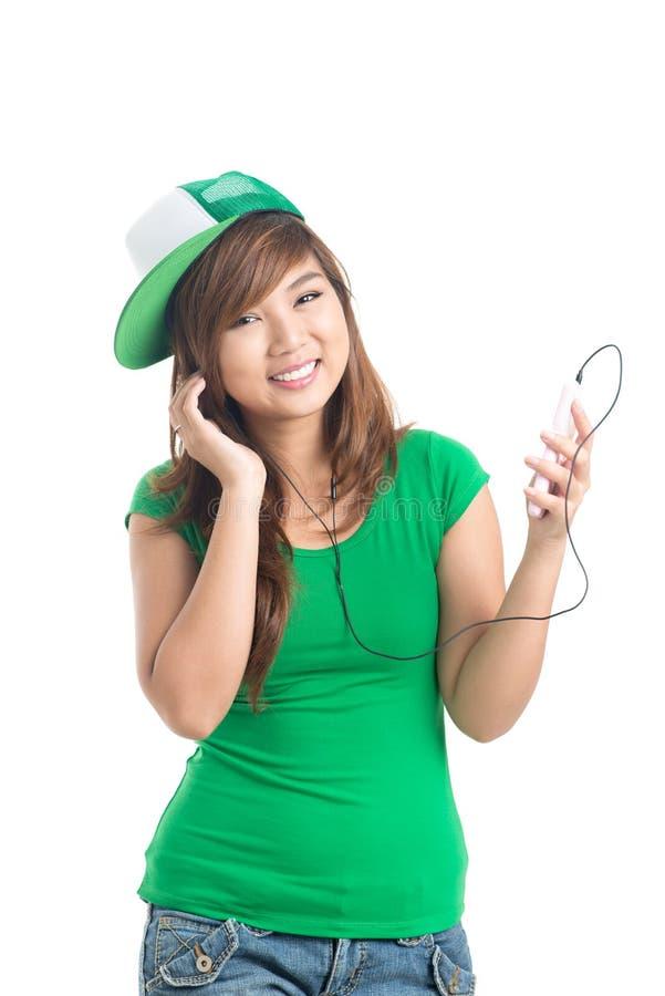 Teenage with music stock photography