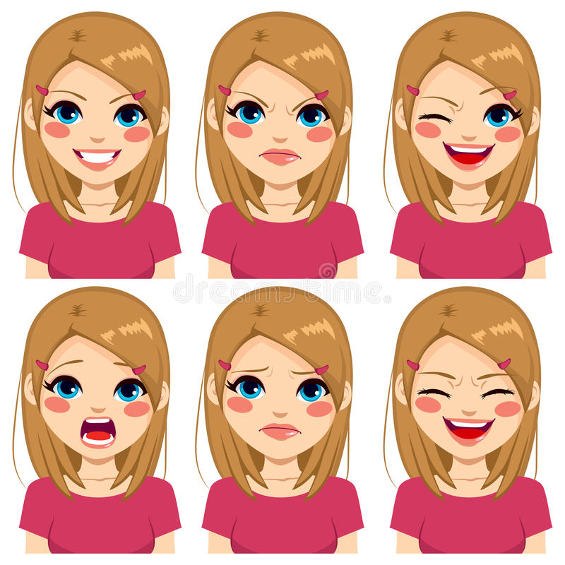 Teenage Pink Girl Face Expressions. Teenage girl making six different face expressions set with pink shirt stock illustration