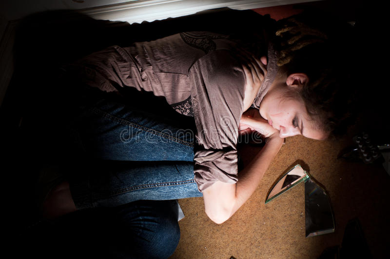Teenage Problems. Loneliness, Violence, Depression Stock Images