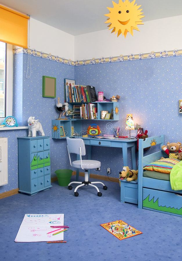 Teenage room. With blue carpet and wall