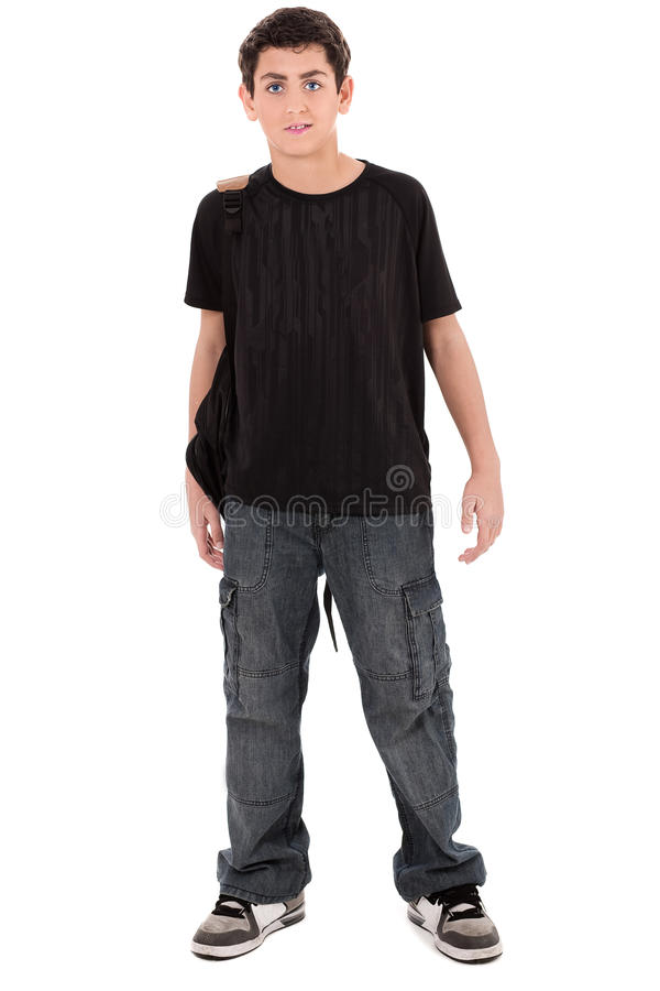 Teenage school boy standing royalty free stock image