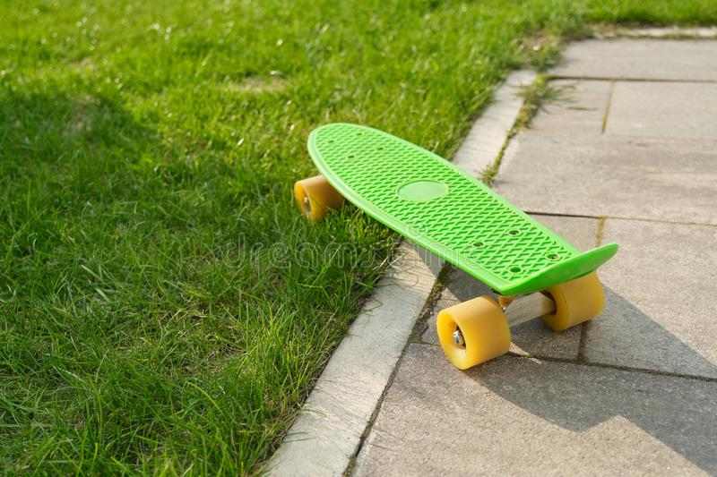 Teenage skateboard on gray paving stones and green grass royalty free stock photo