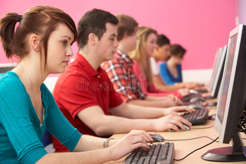 Teenage Students In IT Class Using Computers royalty free stock photo