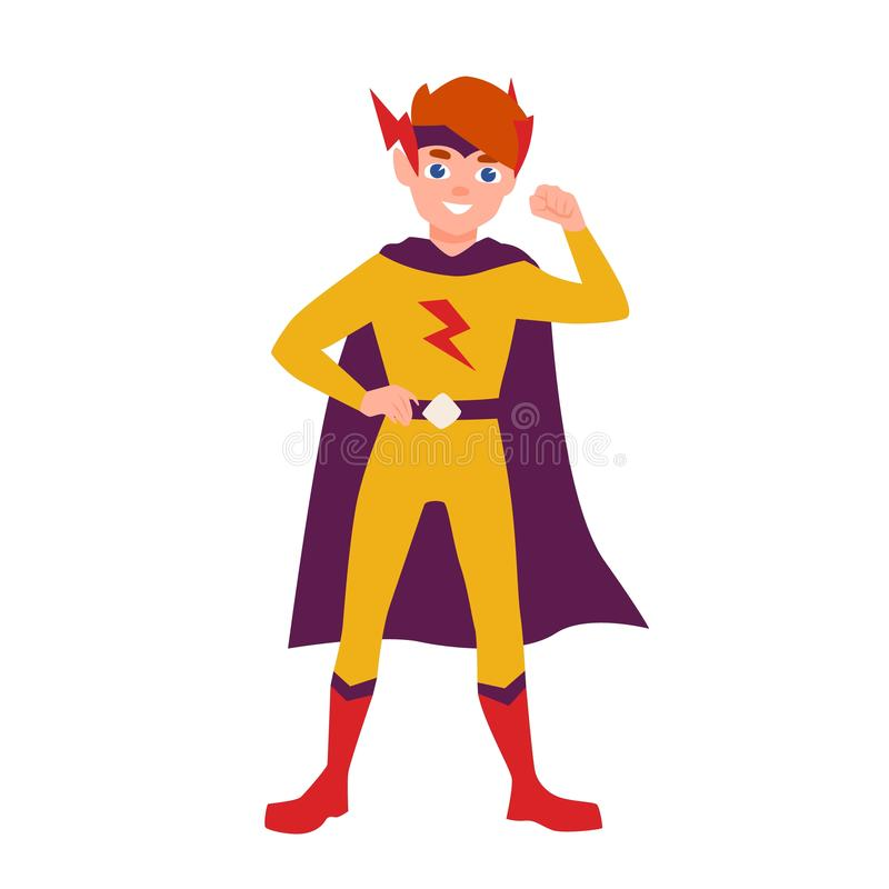 Teenage superhero, superboy or superkid standing in heroic pose. Young boy wearing bodysuit and cape. Brave and. Confident hero kid or child. Colorful vector royalty free illustration
