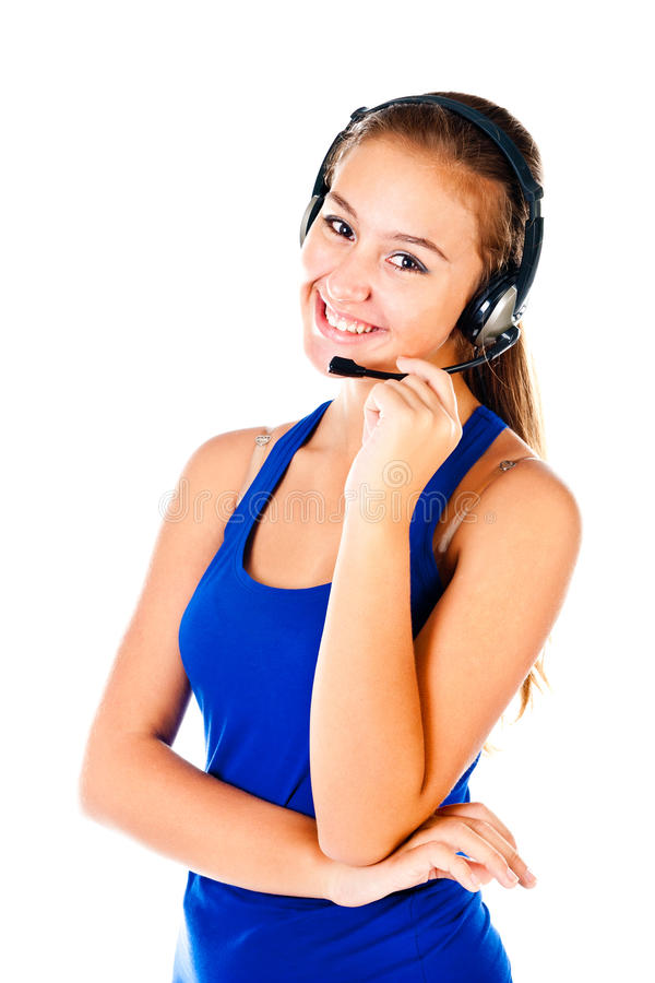 Teenager. With headset isolated on a white background stock photography